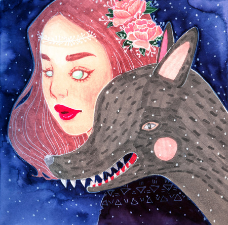 enchantress: Unearthly supernatural girl with wolf. Illustration to the fairy tale Little Red Riding Hood and gray wolf. Watercolor Illustration to the tale. Stock Photo
