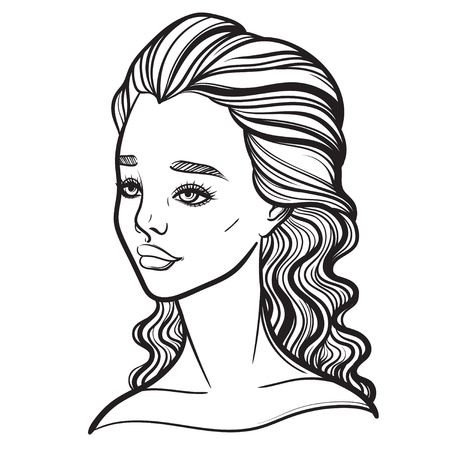 Beautiful vector illustration of a girl. Tattoo poster prints for T-shirts or coloring books. Illustration