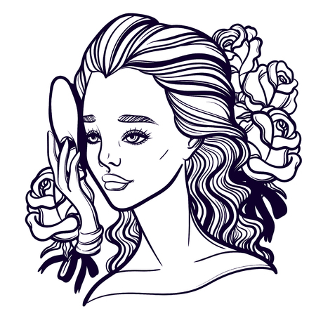 Beautiful vector illustration of a girl and a mask. Phantom of the Opera. Opera diva and Muse. Tattoo poster prints for T-shirts or coloring books. Illustration