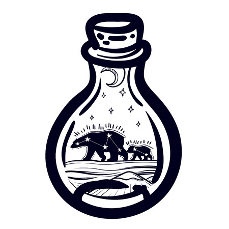 Illustration with a beautiful jar and northern bear, moon and stars, Mount. Vector illustration. Perfect for tattoo illustration, coloring book, print for t-shirts or bags.