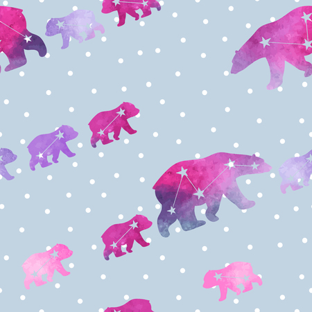 family constellation: Cute seamless pattern with watercolor winter polar bear and snowflakes. Mother and her child. Constellation bears. Cute children pattern. Perfect for background paper or textiles.