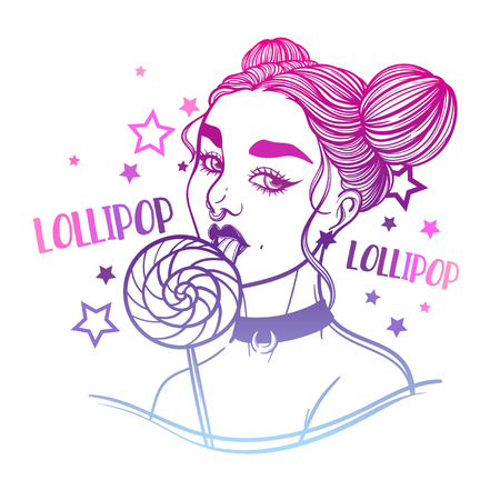 cute vector art card with gothic girl and lollipop sweet candy. Fashion woman. linear tattoo print illustration.