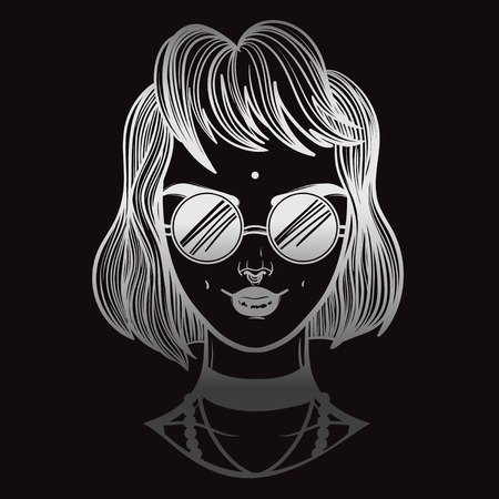cute vector art card with vampire gothic girl. Fashion woman. linear tattoo print illustration. Illustration