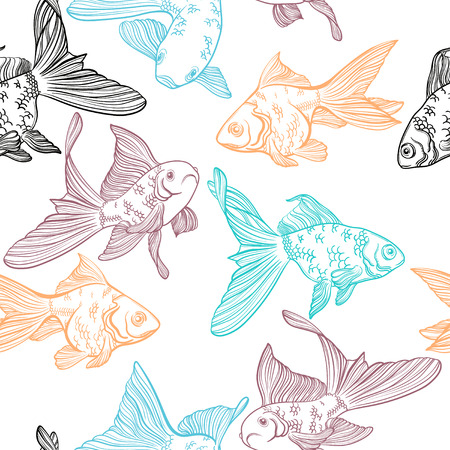Vector seamless pattern with image of a fishes. Goldfish and perch. Linear fish for coloring books. Ilustração