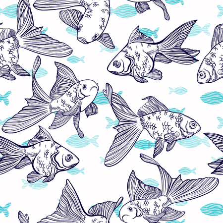 crucian carp: Vector seamless pattern with image of a fishes. Goldfish and perch. Linear fish for coloring books. Illustration