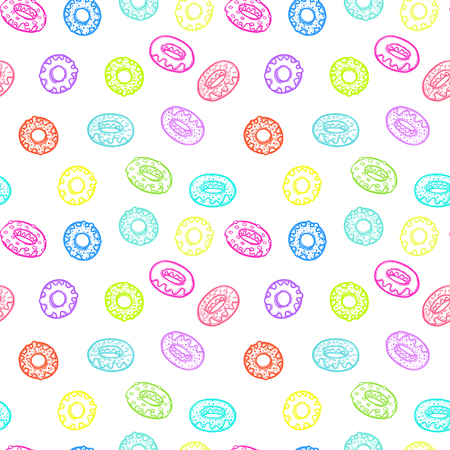 Seamless pattern with delicious donuts. Hand-drawn Vector illustration. Sweet desserts with fudge.