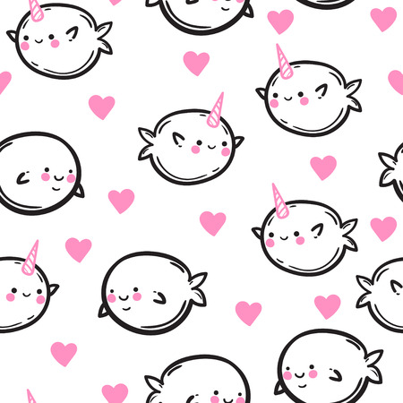 Unicorn fish: Funny vector seamless pattern with unicorn fish. Cute whales and narwhals in hearts. Childrens drawing.