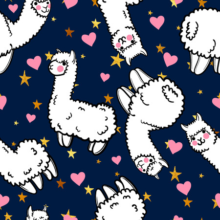 Seamless vector pattern with cute alpacas and hearts and stars. Child illustration with a lama from Peru. In the Japanese anime style. Ilustração