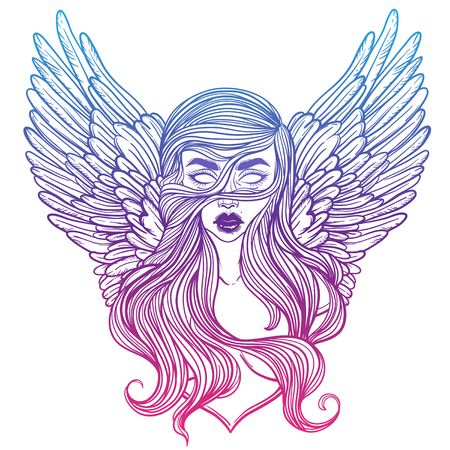 valkyrie: Scandinavian goddess. Valkyrie with wings. Zombie or vampire Girl Line Art. Hand drawn vector illustration. Cartoon style. Could be used as design for coloring book or as part of Halloween decor.