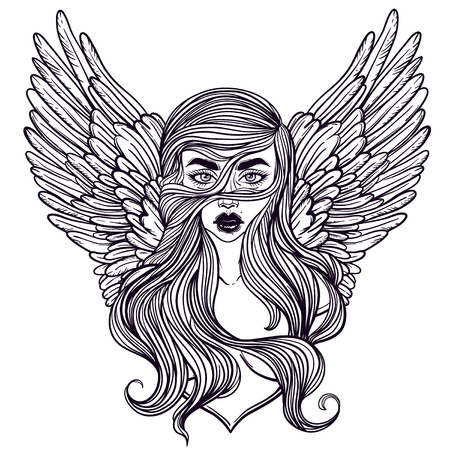 Scandinavian goddess. Valkyrie with wings. Zombie or vampire Girl Line Art. Hand drawn vector illustration. Cartoon style. Could be used as design for coloring book or as part of Halloween decor.