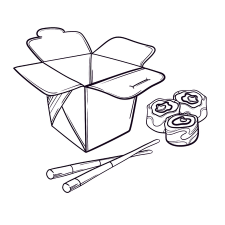 Vector illustration of an Asian restaurant opened to take out a box filled with sushi and chopsticks. Illustration
