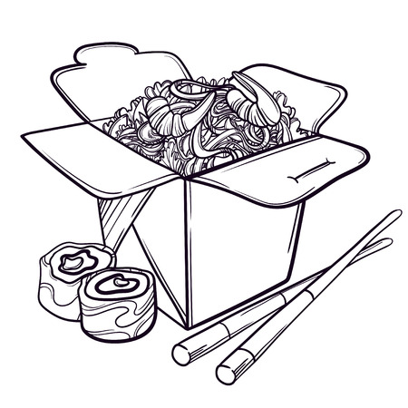 chinese food container: Vector illustration of an Asian restaurant opened to take out a box filled with noodles, shrimp, sushi and chopsticks.