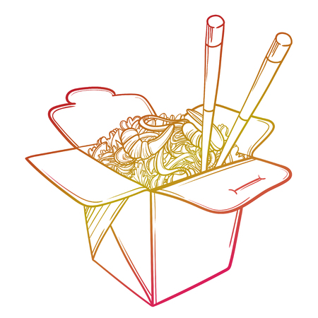 Vector illustration of a Chinese restaurant opened to take out a box filled with noodles, shrimps and chopsticks. Illustration