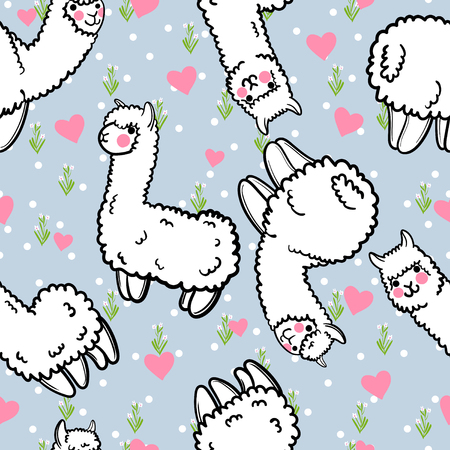 Seamless vector pattern with cute alpacas and hearts and floral background.