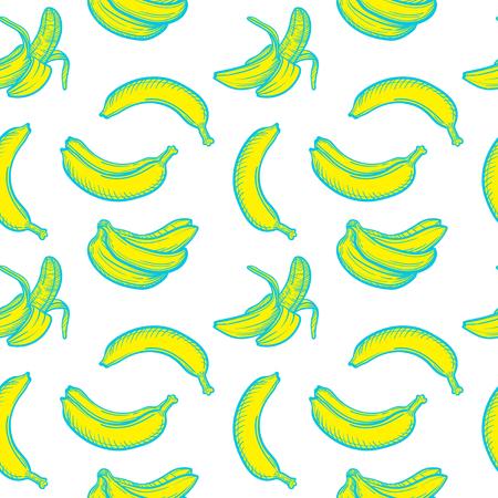 Vector seamless pattern with banana. Tropical pattern with fresh banana. Illustration