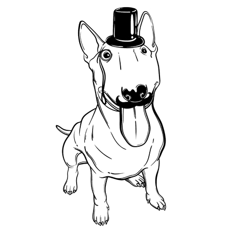 Cute vector illustration with gentleman bullterrier. Bullterrier in a suit. Home dog. Perfect for printing clothes or stickers or coloring books.