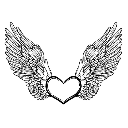 Line art illustration of angel wings and heart. Vintage print for St. Valentine's Day. Sketch for tattoo, hipster t-shirt design, vintage style posters. Coloring book for kids and adults.