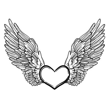 Illustrazione di arte di linea delle ali d'angelo e del cuore. Stampa d'epoca per San Valentino. Sketch per tatuaggio, design t-shirt hipster, poster in stile vintage. Libro da colorare per bambini e adulti. Archivio Fotografico - 77703069