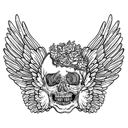 Line art illustration of angel wings, scary skull and flowers. Vintage print for St. Valentines Day. Sketch for tattoo, hipster t-shirt design, vintage style posters. Illustration