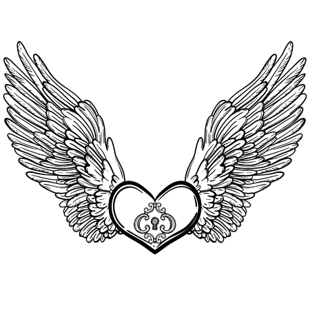 Line art illustration of angel wings and heart. Vintage print for St. Valentines Day. Sketch for tattoo, hipster t-shirt design, vintage style posters. Coloring book for kids and adults.
