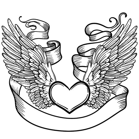 Line art illustration of angel wings, heart, tape. Vintage print for St. Valentines Day. Sketch for tattoo, hipster t-shirt design, vintage style posters.