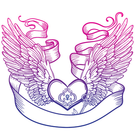 Line art illustration of angel wings and heart, tape and key. Vintage print for St. Valentine s Day. Illustration