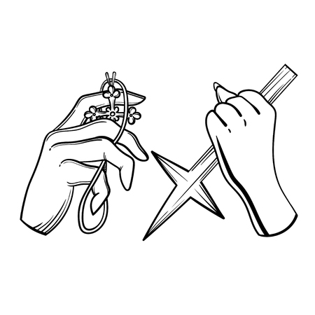 Attributes cross and count.. Vector illustration with hands of a vampire hunter. Illustration