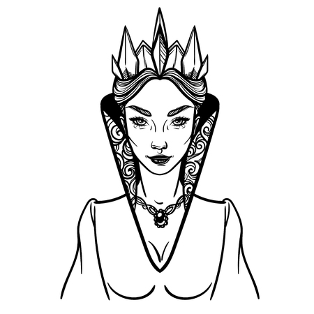 Ilustración Vectorial Con La Reina De Espadas. Cardenal Reina De ...