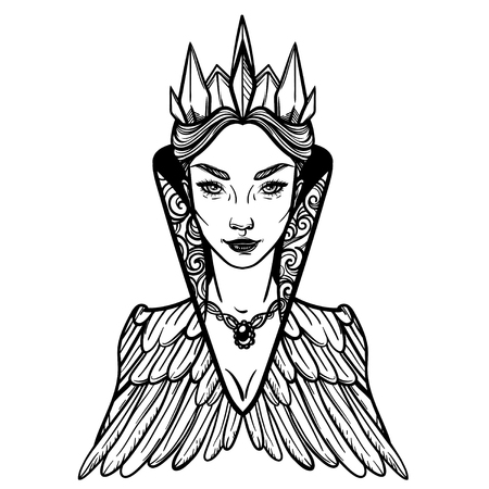 Vector illustration with Evil Queen. For coloring books or print clothes. Ilustracja