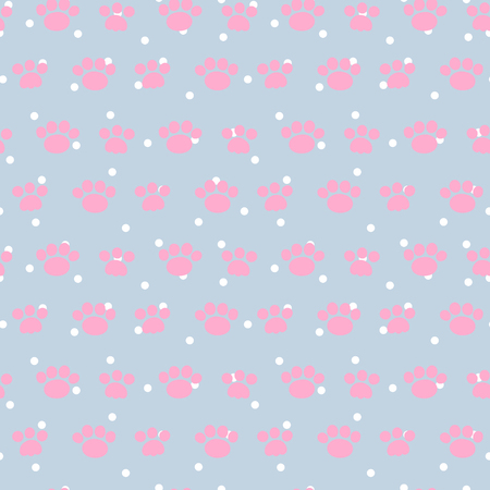 Vector seamless pattern with paws. Cute print. Illustration