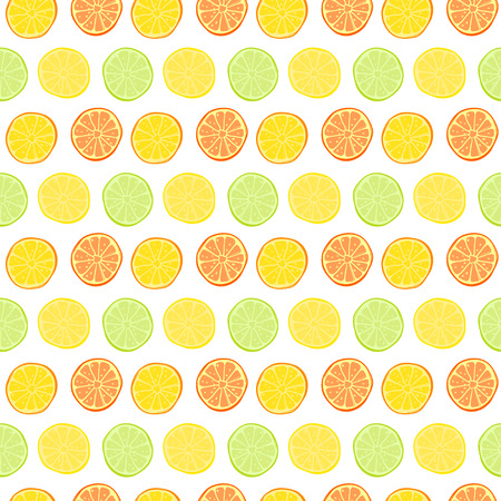 Vector seamless pattern with lemons, limes, oranges, kumquat and grapefruit. Citrus fruit mix. Can be use for fabric print, postcards or drink company. Illustration