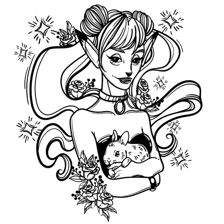 cute vector art card with a fox girl and her pet bunny, flowers roses and stars. Fashion woman. linear tattoo print illustration.