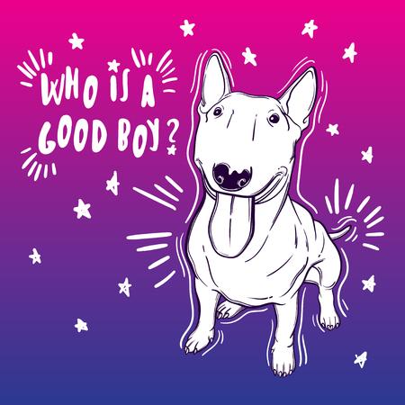 Nette Vektor-Illustration mit Bullterrier. Haushund. Vervollkommnen Sie für das Drucken der Kleidung oder der Aufkleber oder der färbenden Bücher. Standard-Bild - 83393091