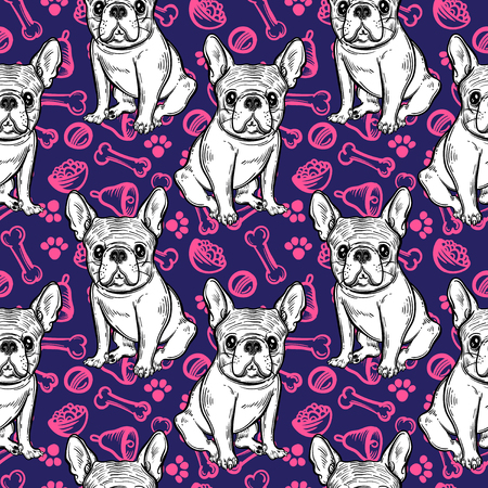 companion: Seamless cute pattern with French bulldog. Home dog. Perfect for textiles or paper design.
