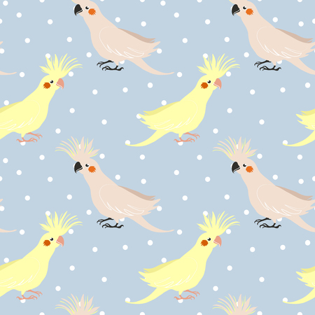 chick: Vector seamless pattern with birds parrot corella. little cockatiel. fashion print.