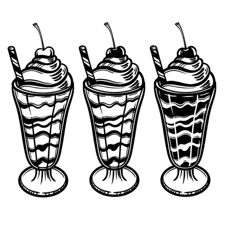 Vector illustration with a glass of ice cream and cherry. Cream with syrup. Perfect print for the menu in a cafe or restaurant. Illustration