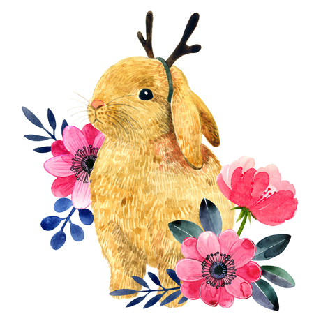 Watercolor illustration with little bunny and peony and leaves. Bunny with reindeer horns. Beautiful rabbit and flowers on a white background. Child illustration. Stock Photo