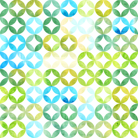Watercolor abstract pattern. Arab tiles. Geometric pattern with petals.