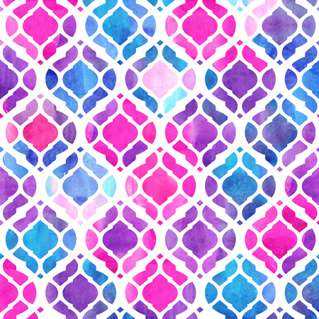 Watercolor abstract geometric pattern. Arab tiles. Kaleidoscope effect. Watercolor mosaic.