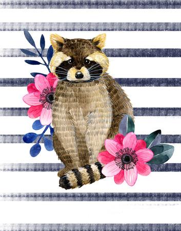 Aquarelle illustration avec petit raton laveur et pivoine et les belles feuilles de rousseur et des fleurs sur un fond blanc. illustration enfant . Banque d'images - 85105487