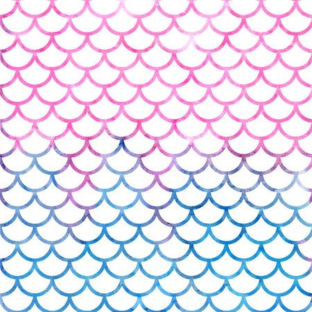 인어 비늘. 수채화 물고기 비늘입니다. 파충류 비늘와 밝은 여름 패턴입니다.