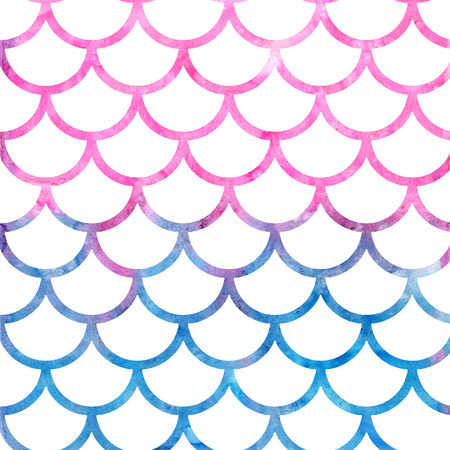 vintage postcard: Mermaid scales. Watercolor fish scales. Bright summer pattern with reptilian scales.