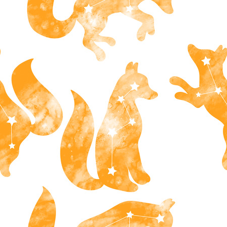 Cute seamless pattern with a fox. Constellation of the fox. Vector. Watercolor pattern.