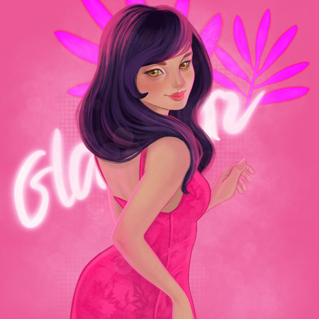 Illustration with beautiful woman. Girl in a pink cocktail dress. Sexy girl.
