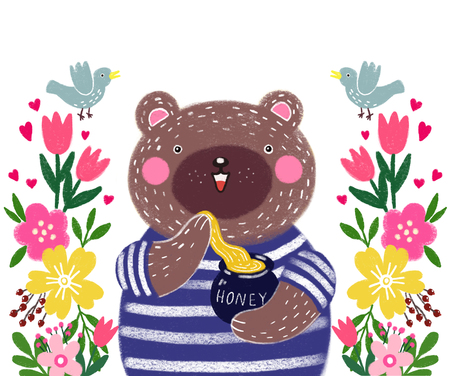 Cute baby illustration with a teddy bear. Illustration to the tale. Teddy bear with honey and garden flowers with birds.