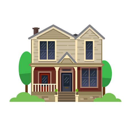A hand drawn illustration. Home Sweet Home. Vector icon. The building of the architect. Victorian style. Illustration