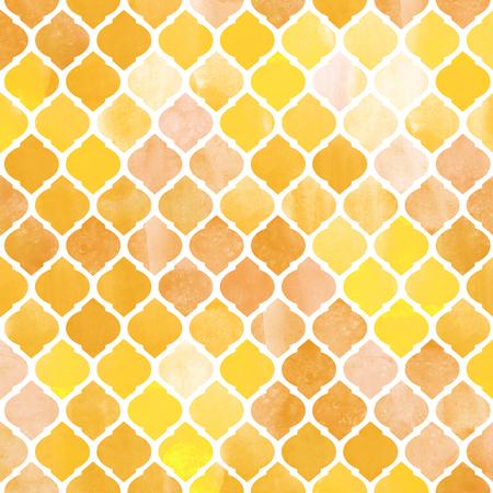 Watercolor abstract geometric pattern. Arab tiles. Kaleidoscope effect. Watercolor mosaic.