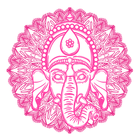 Vector illustration of Ganesha. Hindu god elephant Ganesha and flower mandala on the background. Lineart tattoo. Illustration