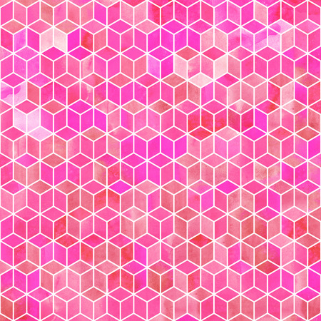 Watercolor mosaic. Bright summer pattern with watercolor cubes. Reklamní fotografie