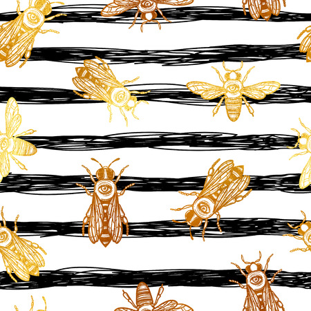 seamless vector pattern with bees. bees with eye. occult bees and fly. gold insect and black stripes.